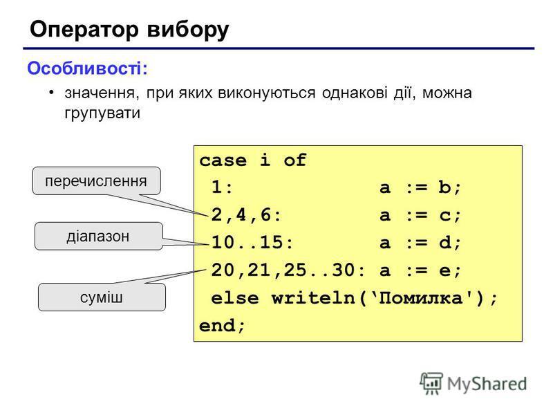 Оператор вибору Особливості: значення, при яких виконуються однакові дії, можна групувати case i of 1: a := b; 2,4,6: a := c; 10..15: a := d; 20,21,25..30: a := e; else writeln(Помилка'); end; перечислення діапазон суміш