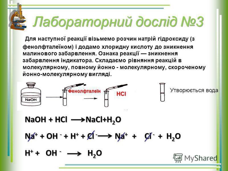 Лабораторний дослід 3 Для наступної реакції візьмемо розчин натрій гідроксиду (з фенолфталеїном) і додамо хлоридну кислоту до зникнення малинового забарвлення. Ознака реакції зникнення забарвлення індикатора. Складаємо рівняння реакцій в молекулярном
