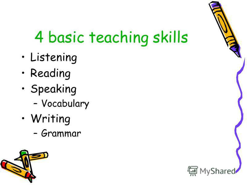 4 basic teaching skills Listening Reading Speaking –Vocabulary Writing –Grammar