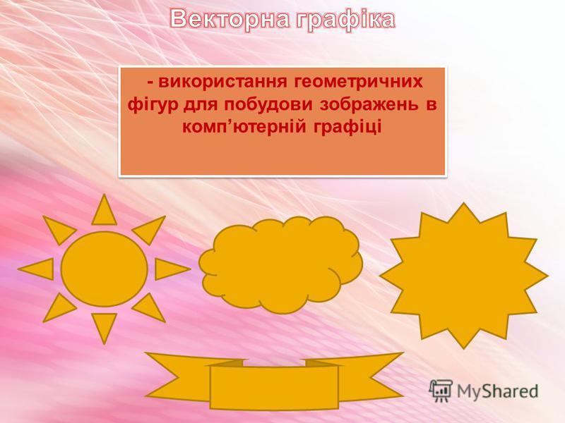 - використання геометричних фігур для побудови зображень в компютерній графіці