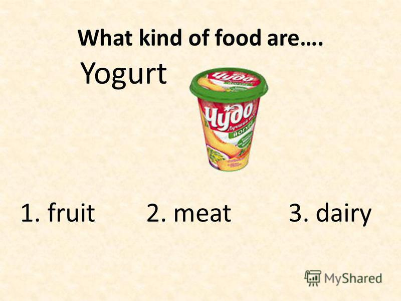 What kind of food are…. Yogurt 1. fruit 2. meat 3. dairy