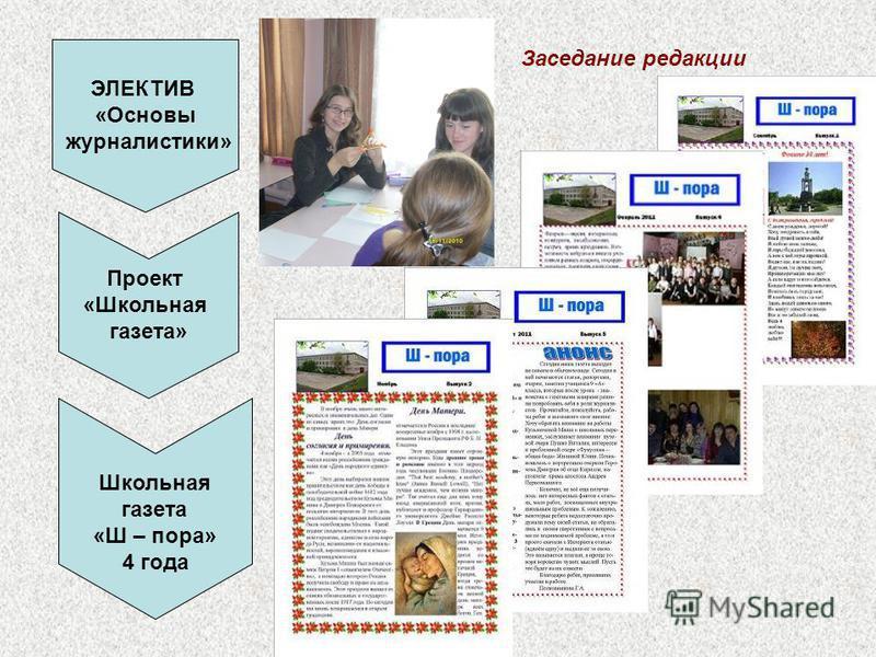 ЭЛЕКТИВ «Основы журналистики» Проект «Школьная газета» Школьная газета «Ш – пора» 4 года Заседание редакции
