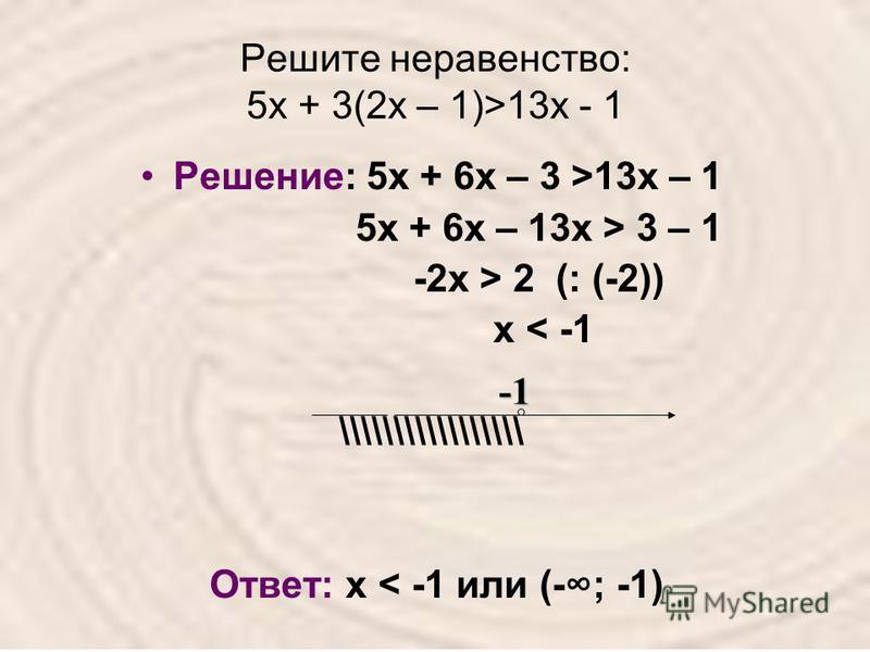 Решите неравенство: 5 х + 3(2 х – 1)>13 х - 1 Решение: 5 х + 6 х – 3 >13 х – 1 5 х + 6 х – 13 х > 3 – 1 -2 х > 2 (: (-2)) х < -1 \\\\\\\\\\\\\\\\\ Ответ: х < -1 или (-; -1)