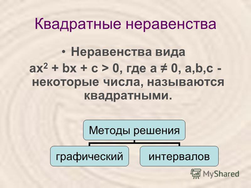 Квадратные неравенства Неравенства вида ах 2 + bх + с > 0, где а 0, а,b,с - некоторые числа, называются квадратными. Методы решения графический интервалов