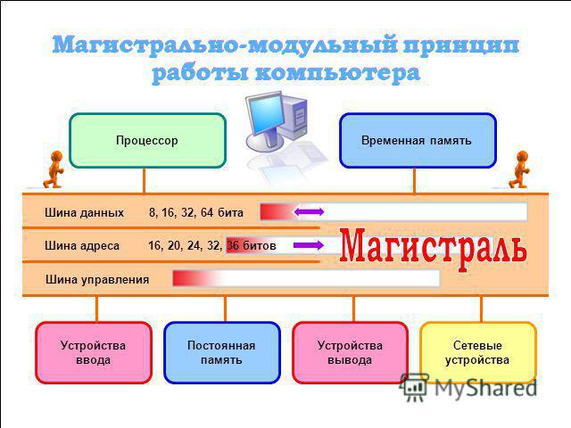 Магистраль (системная шина) включает в себя три многоразрядные шины: шину данных, шину адреса и шину управления, которые представляют собой многопроводные линии. К магистрали подключаются процессор и оперативная память, а также периферийные устройств