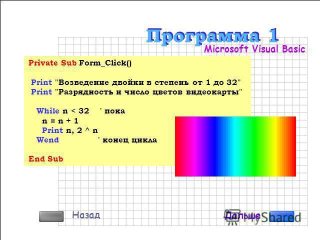Алгоритм Программа Азбука Visual Basic Программирование с нуля Примеры программ на Delphi Примеры программ на Visual Basic Примеры программ на C++Builder Назад