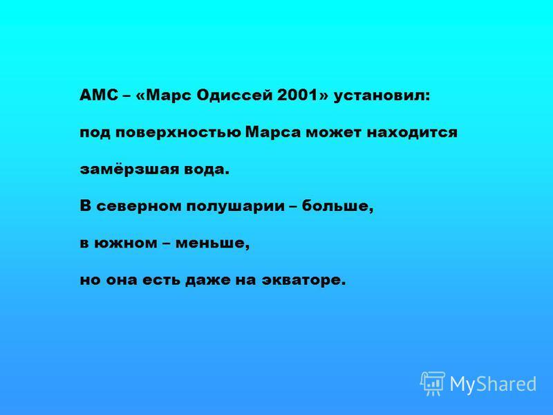 АМС – «Марс Одиссей 2001» установил: под поверхностью Марса может находится замёрзшая вода. В северном полушарии – больше, в южном – меньше, но она есть даже на экваторе.