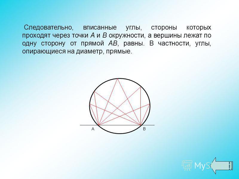 Следовательно, вписанные углы, стороны которых проходят через точки А и В окружности, а вершины лежат по одну сторону от прямой АВ, равны. В частности, углы, опирающиеся на диаметр, прямые. АВ