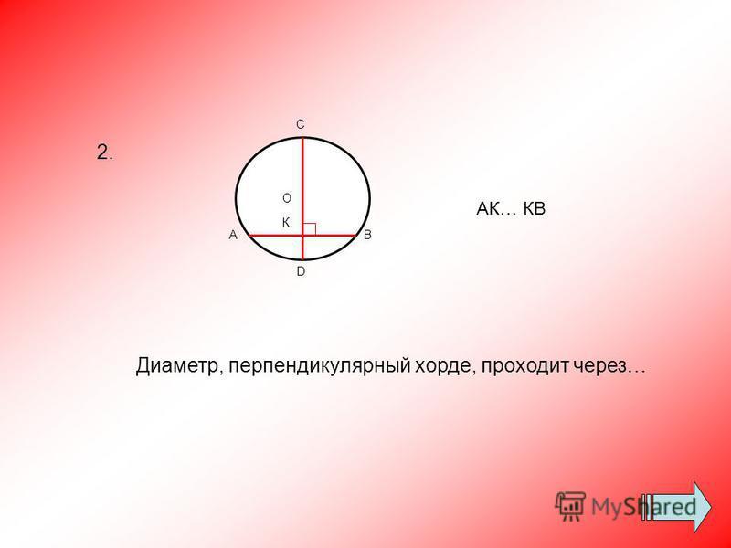 Диаметр, перпендикулярный хорде, проходит через… С О К А D В АК… КВ 2.