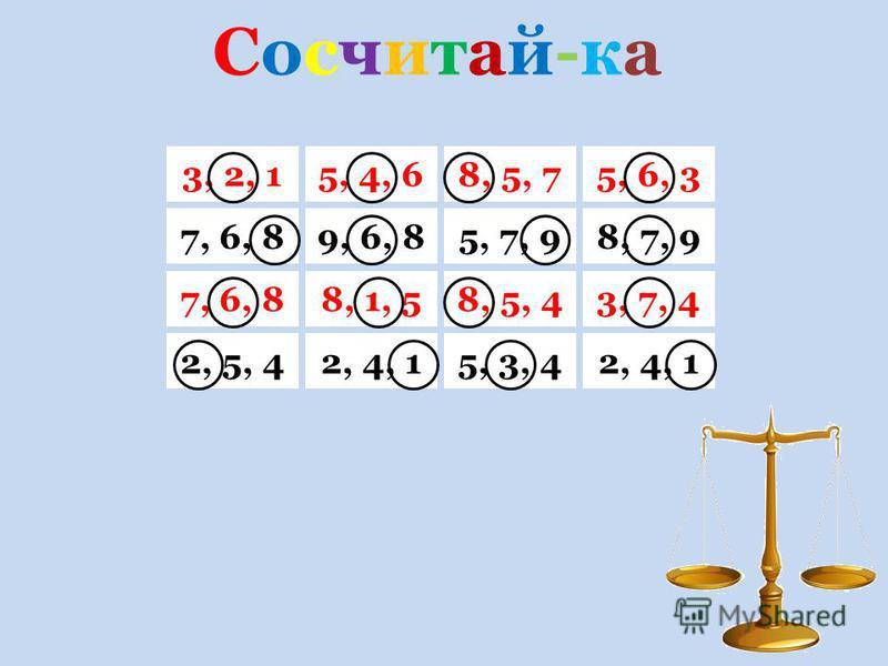 Сосчитай-ка Сосчитай-ка 3, 2, 15, 6, 38, 5, 75, 4, 6 7, 6, 88, 7, 95, 7, 99, 6, 8 7, 6, 83, 7, 48, 5, 48, 1, 5 2, 5, 42, 4, 15, 3, 42, 4, 1