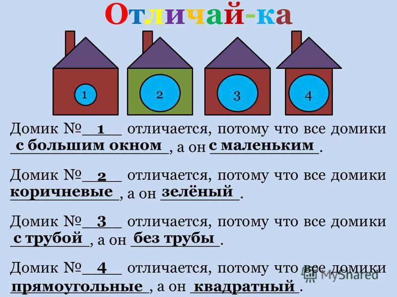 Домик ____ отличается, потому что все домики ________________, а он ___________. Отличай-ка Отличай-ка Домик ____ отличается, потому что все домики ___________, а он ________. Домик ____ отличается, потому что все домики ________, а он _________. Дом