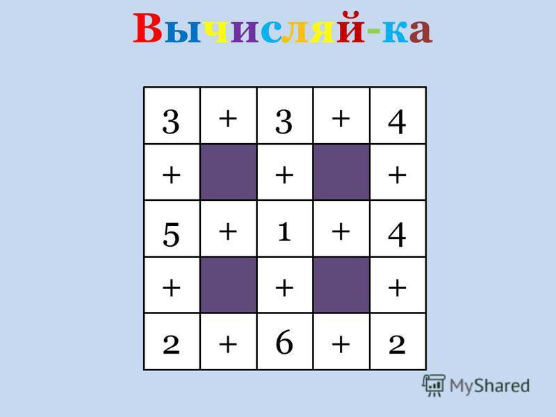 Вычисляй-ка Вычисляй-ка 3 + + + + + + + + + + + +34 415 262