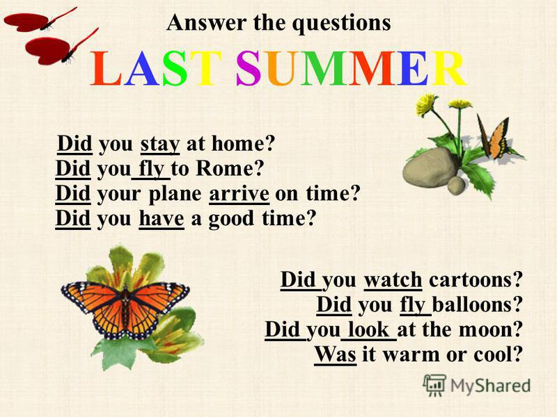 Answer the questions LAST SUMMER Did you stay at home? Did you fly to Rome? Did your plane arrive on time? Did you have a good time? Did you watch cartoons? Did you fly balloons? Did you look at the moon? Was it warm or cool?