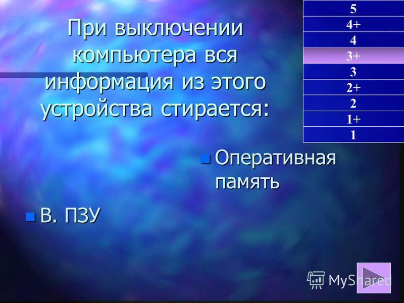 При выключении компьютера вся информация из этого устройства стирается: n В. ПЗУ n Оперативная память 3+ 1 4+ 4 3 2+ 2 1+ 5
