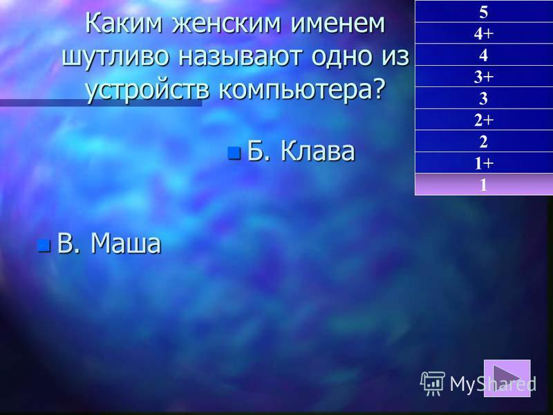 Каким женским именем шутливо называют одно из устройств компьютера? n В. Маша n Б. Клава 1 1+ 5 4+ 4 3+ 3 2+ 2