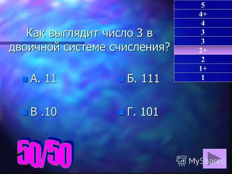 Как выглядит число 3 в двоичной системе счисления? n А. 11 n В.10 n Б. 111 n Г. 101 2+ 1 4+ 4 3 3 2 1+ 5
