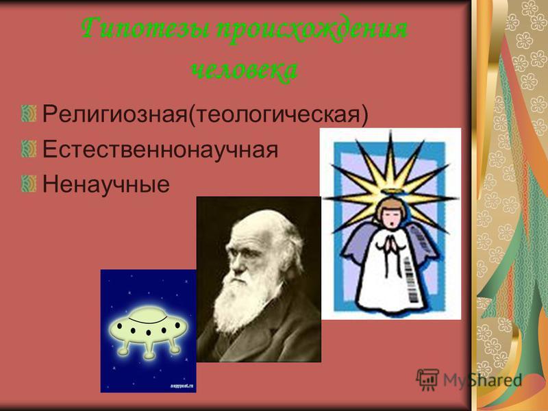 Гипотезы происхождения человека Религиозная(теологическая) Естественнонаучная Ненаучные