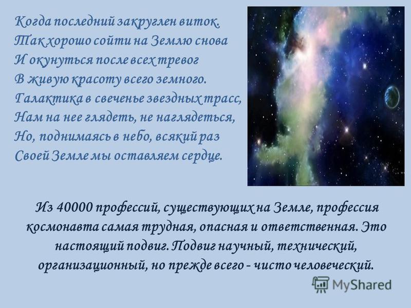 Когда последний закруглен виток. Так хорошо сойти на Землю снова И окунуться после всех тревог В живую красоту всего земного. Галактика в свеченье звездных трасс, Нам на нее глядеть, не наглядеться, Но, поднимаясь в небо, всякий раз Своей Земле мы ос