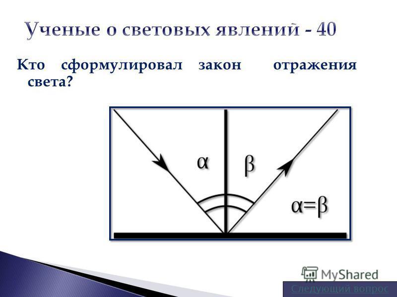Кто сформулировал закон отражения света? Следующий вопрос