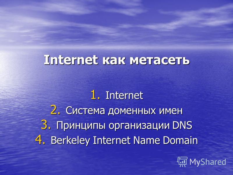 Internet как метасеть 1. Internet 2. Система доменных имен 3. Принципы организации DNS 4. Berkeley Internet Name Domain