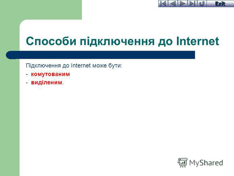 Exit Способи підключення до Internet Підключення до Internet може бути: - комутованим - виділеним.