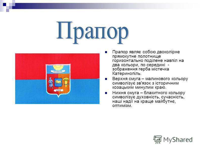 Прапор являє собою двоколірне прямокутне полотнище горизонтально поділене навпіл на два кольори, по середині - зображення герба містечка Катеринопіль. Верхня смуга – малинового кольору символізує зв'язок з історичним козацьким минулим краю. Нижня сму