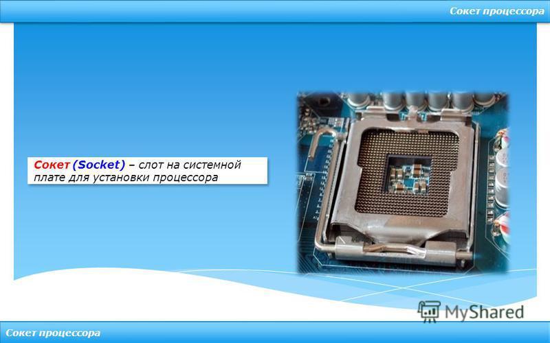 Сокет процессора Сокет (Socket) – слот на системной плате для установки процессора