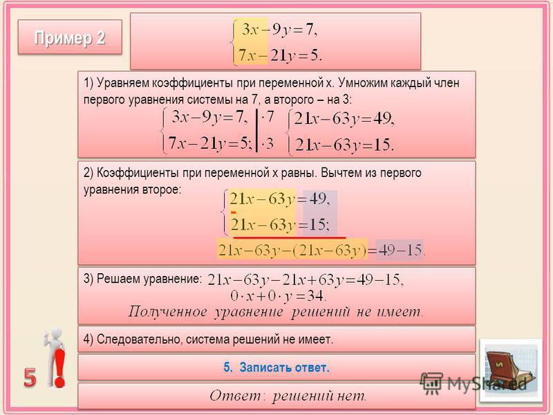 Пример 2 1) Уравняем коэффициенты при переменной х. Умножим каждый член первого уравнения системы на 7, а второго – на 3: 2) Коэффициенты при переменной х равны. Вычтем из первого уравнения второе: - 3) Решаем уравнение: 4) Следовательно, система реш