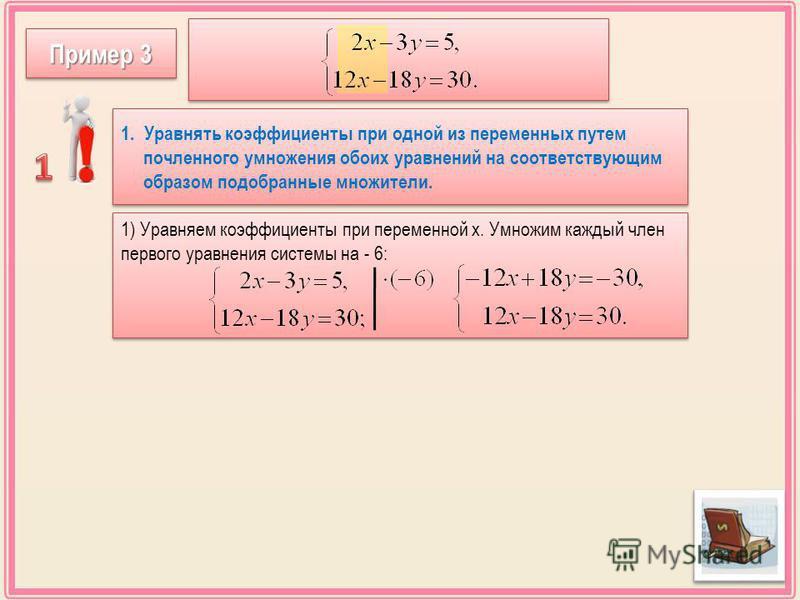 1) Уравняем коэффициенты при переменной х. Умножим каждый член первого уравнения системы на - 6: 1. Уравнять коэффициенты при одной из переменных путем почленноеееееееееего умножения обоих уравнений на соответствующим образом подобранные множители. 1