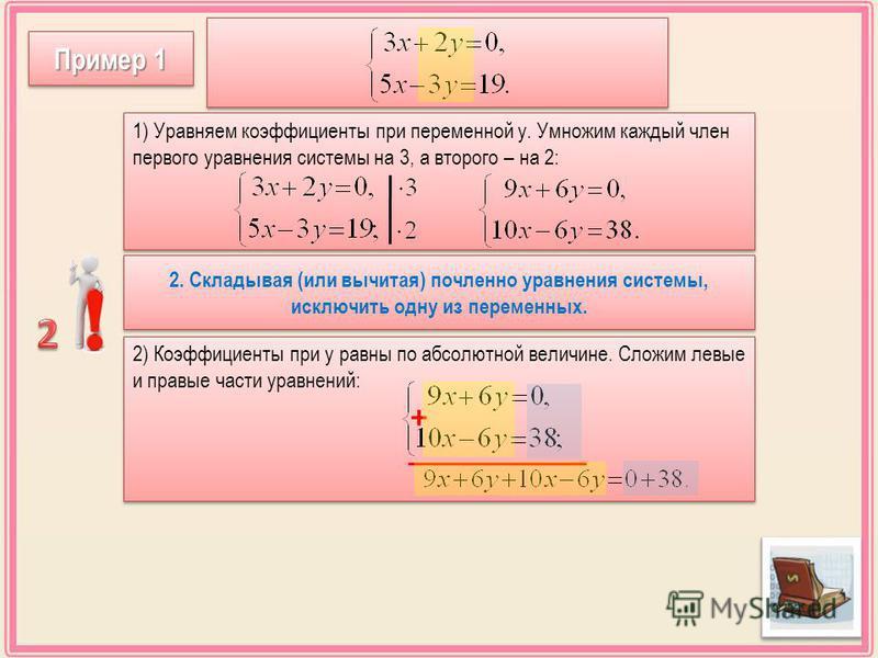 2) Коэффициенты при у равны по абсолютной величине. Сложим левые и правые части уравнений: Пример 1 1) Уравняем коэффициенты при переменной у. Умножим каждый член первого уравнения системы на 3, а второго – на 2: 2. Складывая (или вычитая) почленноее