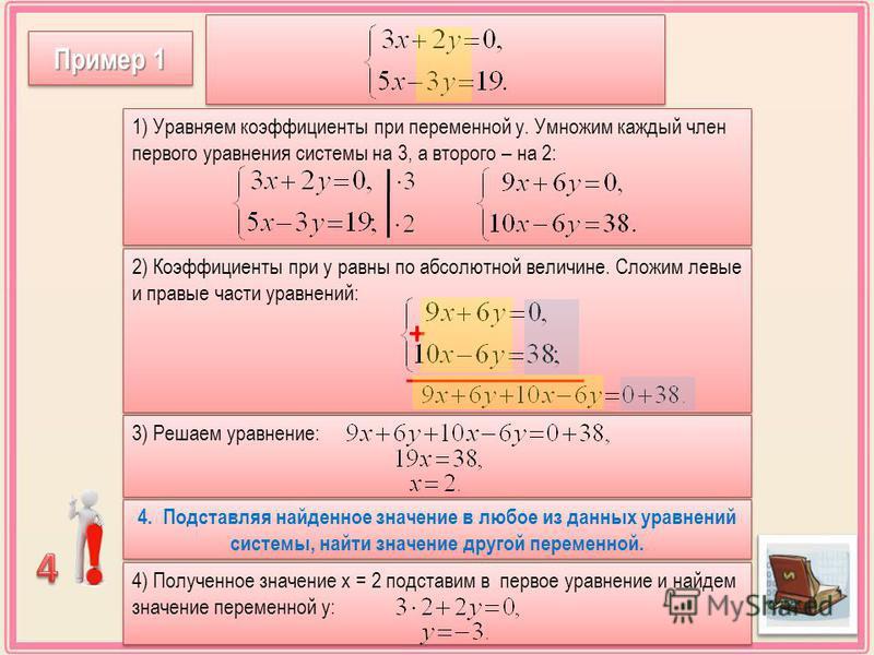 3) Решаем уравнение: 2) Коэффициенты при у равны по абсолютной величине. Сложим левые и правые части уравнений: Пример 1 1) Уравняем коэффициенты при переменной у. Умножим каждый член первого уравнения системы на 3, а второго – на 2: + 4. Подставляя