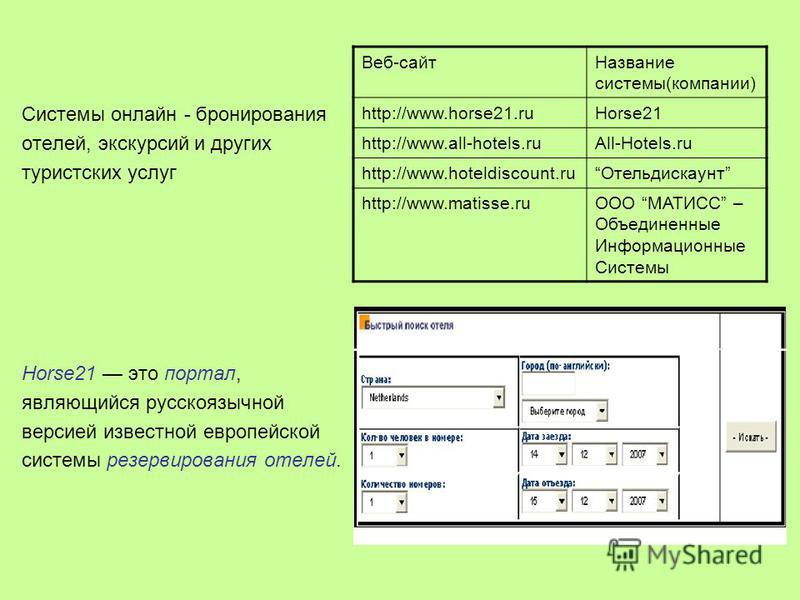 Системы онлайн - бронирования отелей, экскурсий и других туристских услуг Horse21 это портал, являющийся русскоязычной версией известной европейской системы резервирования отелей. Веб-сайт Название системы(компании) http://www.horse21.ruHorse21 http: