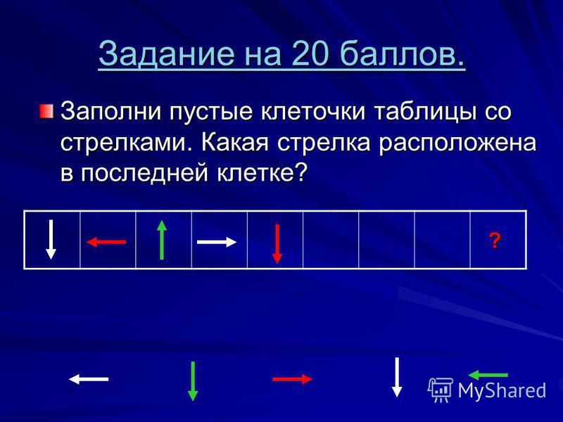 Задание на 20 баллов. Задание на 20 баллов. Заполни пустые клеточки таблицы со стрелками. Какая стрелка расположена в последней клетке? ?