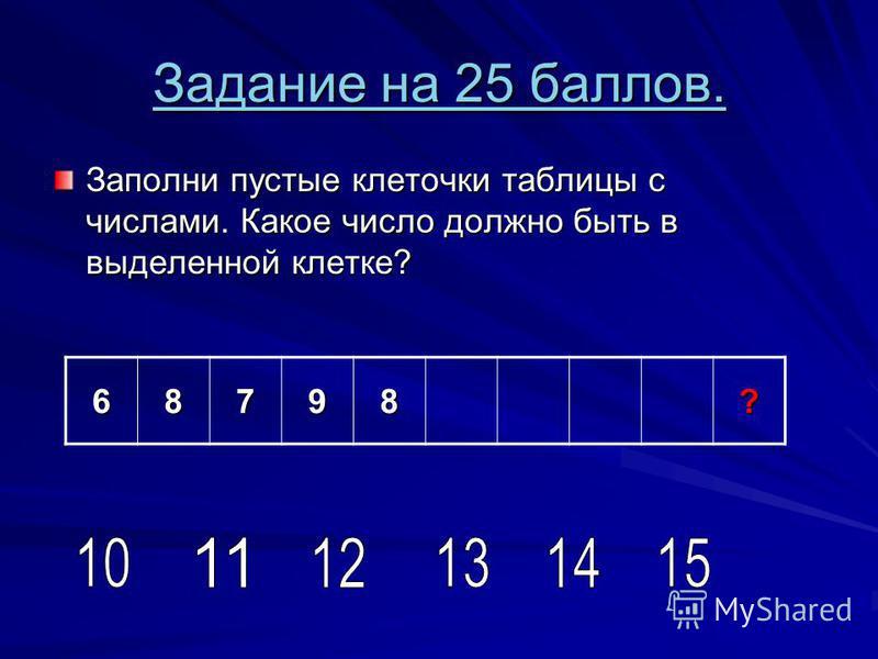 Задание на 25 баллов. Задание на 25 баллов. Заполни пустые клеточки таблицы с числами. Какое число должно быть в выделенной клетке? 68798?