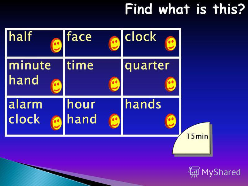 halffaceclock minute hand timequarter alarm clock hour hand hands Find what is this? Find what is this? 15min