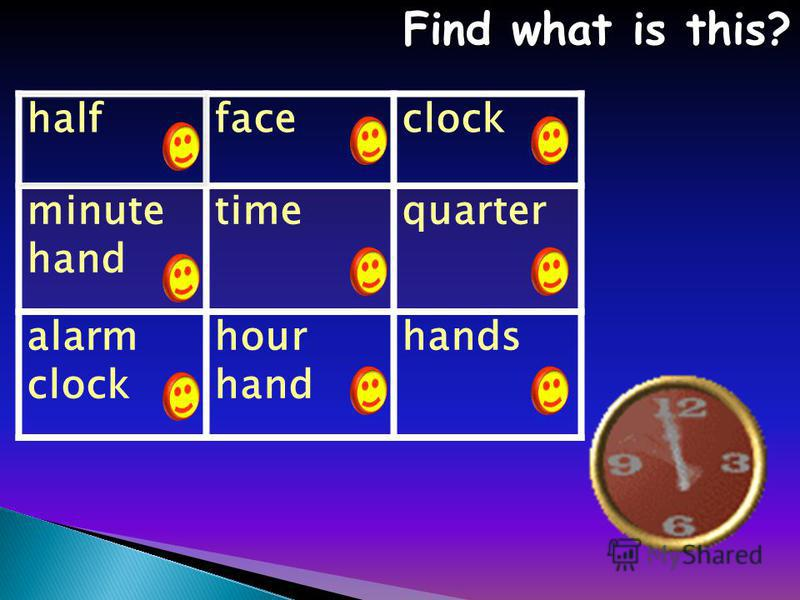halffaceclock minute hand timequarter alarm clock hour hand hands Find what is this? Find what is this?