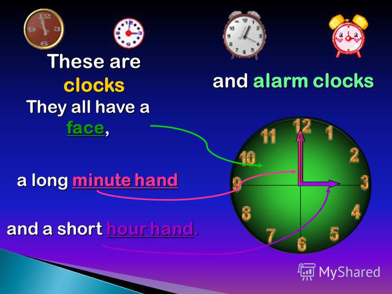 These are clocks They all have a face, a long minute hand and a short hour hand. and alarm clocks