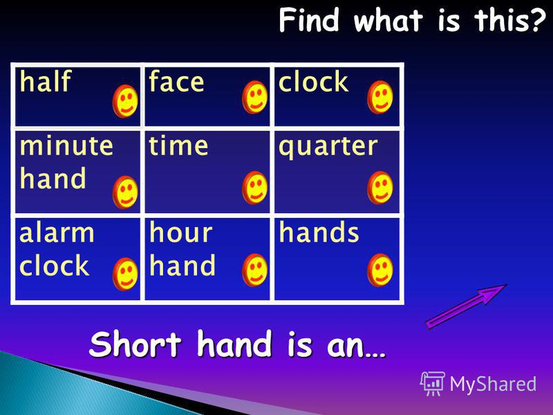 halffaceclock minute hand timequarter alarm clock hour hand hands Find what is this? Find what is this? Short hand is an…