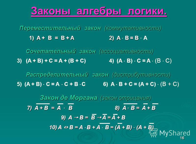 16 Законы алгебры логики. Переместительный закон (коммутативности) Переместительный закон (коммутативности) 1) A + B = B + A 2) A B = B 1) A + B = B + A 2) A B = B A Сочетательный закон (ассоциативности) 3) (A + B) + C = A + (B + C) 4) (A B) C = A (B