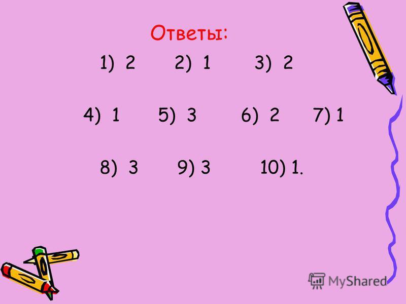 Ответы: 1) 2 2) 1 3) 2 4) 1 5) 3 6) 2 7) 1 8) 3 9) 3 10) 1.