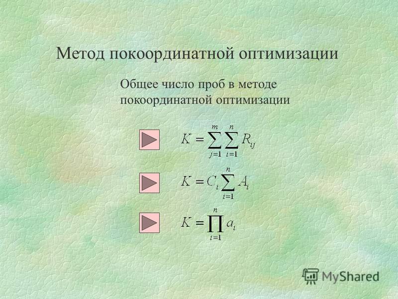 Метод покоординатной оптимизации Общее число проб в методе покоординатной оптимизации