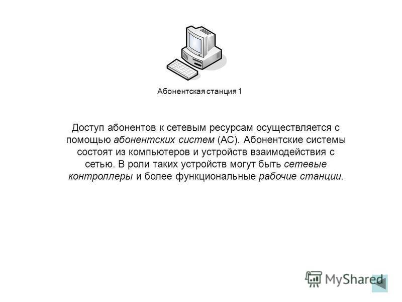 Доступ абонентов к сетевым ресурсам осуществляется с помощью абонентских систем (АС). Абонентские системы состоят из компьютеров и устройств взаимодействия с сетью. В роли таких устройств могут быть сетевые контроллеры и более функциональные рабочие