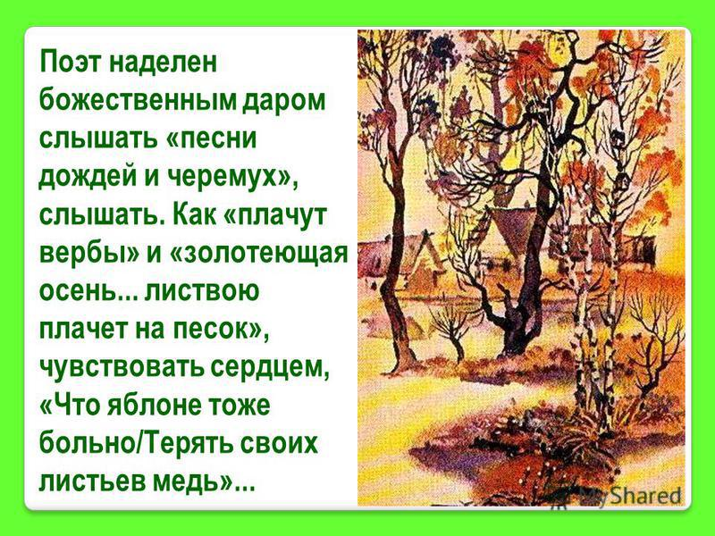 Поэт наделен божественным даром слышать «песни дождей и черемух», слышать. Как «плачут вербы» и «золотеющая осень... листвою плачет на песок», чувствовать сердцем, «Что яблоне тоже больно/Терять своих листьев медь»...