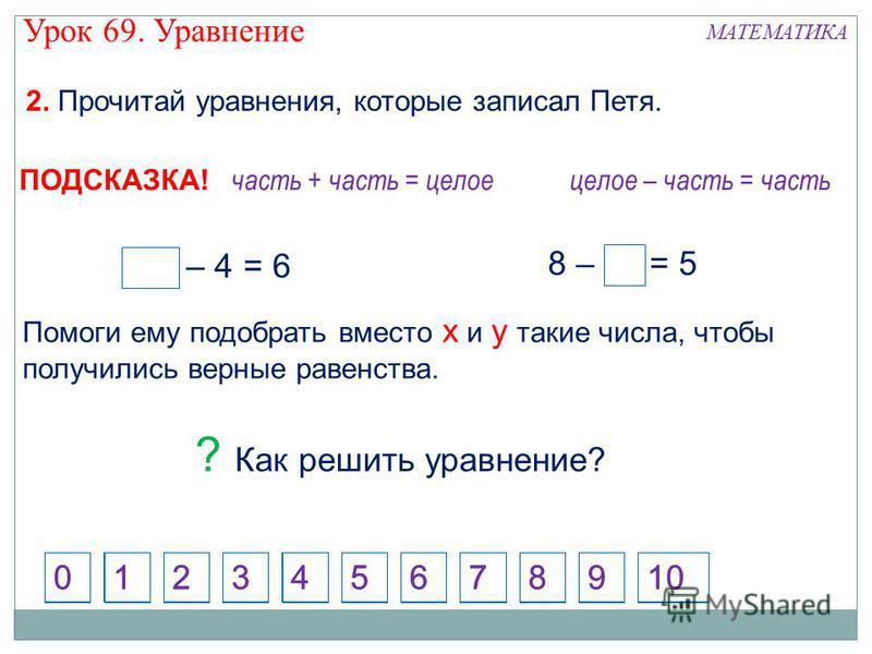 2. Прочитай уравнения, которые записал Петя. 124573698100 х – 4 = 6 8 – у = 5 3 10 часть + часть = целое 124573698100 целое – часть = часть ПОДСКАЗКА! Помоги ему подобрать вместо х и у такие числа, чтобы получились верные равенства. ? Как решить урав