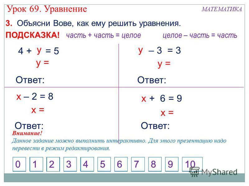 3. Объясни Вове, как ему решить уравнения. 1 2 4573698100 часть + часть = целое 1 2 4573698100 целое – часть = часть ПОДСКАЗКА! – 2 = 8 х = Ответ: х + 6 = 9 х х = у = 4 + = 5 у Ответ: – 3 = 3 у у = Ответ: Внимание! Данное задание можно выполнить инте