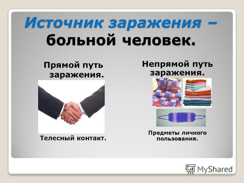 Источник заражения – больной человек. Непрямой путь заражения. Предметы личного пользования. Прямой путь заражения. Телесный контакт.