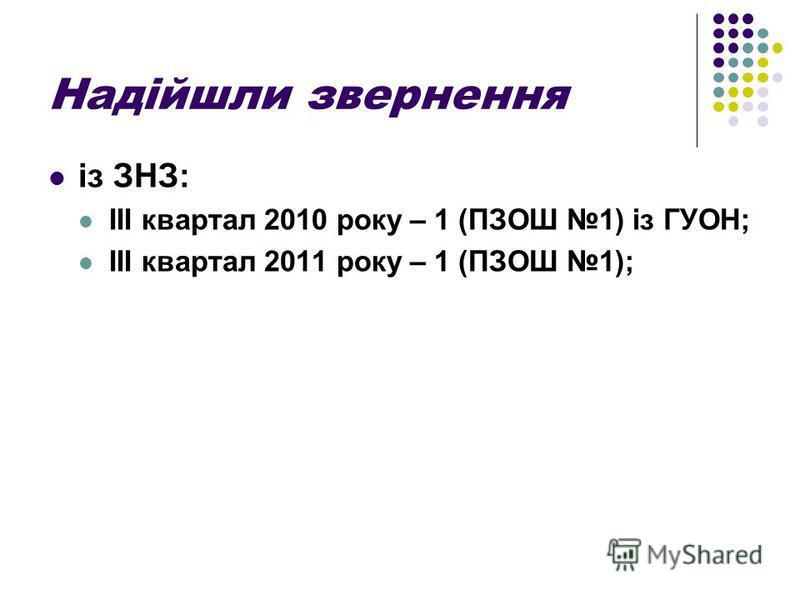 Надійшли звернення із ЗНЗ: ІІІ квартал 2010 року – 1 (ПЗОШ 1) із ГУОН; ІІІ квартал 2011 року – 1 (ПЗОШ 1);