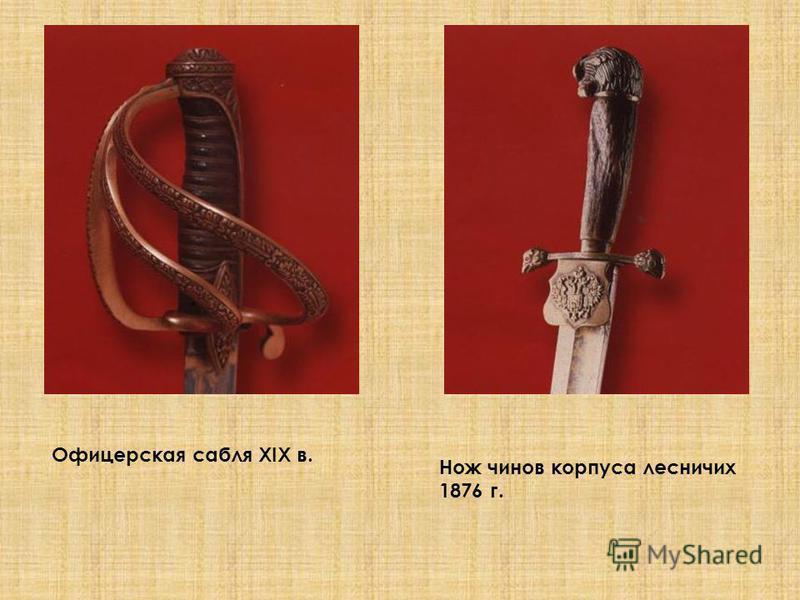 Офицерская сабля XIX в. Нож чинов корпуса лесничих 1876 г.