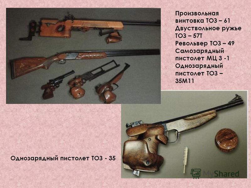 Произвольная винтовка ТОЗ – 61 Двуствольное ружье ТОЗ – 57Т Револьвер ТОЗ – 49 Самозарядный пистолет МЦ 3 -1 Однозарядный пистолет ТОЗ – 35М11 Однозарядный пистолет ТОЗ - 35