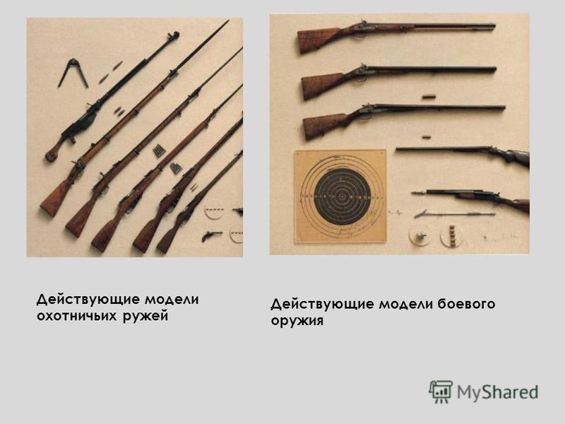 Действующие модели охотничьих ружей Действующие модели боевого оружия